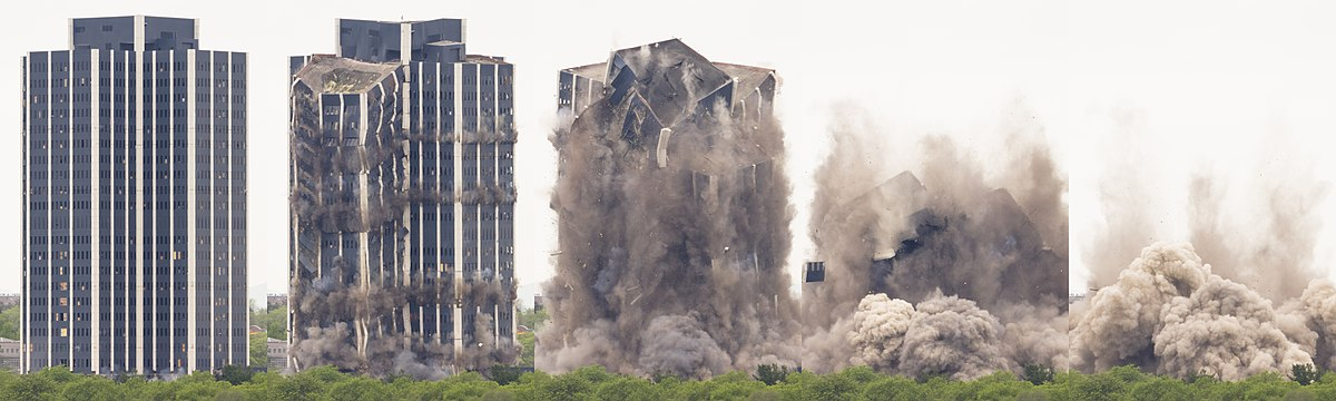 Sequence of images depicting demolition of Martin Tower in Bethlehem, PA, May 19, 2019