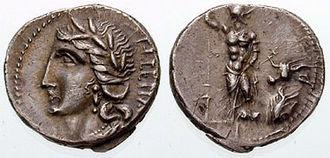 Coinage of the Social War (91–88 BC) - Image: Denarius Marsic Federation Syd 627 1
