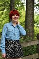Denim Shirt, Floral Patterned Shorts, & a Red Pixie Cut.jpg