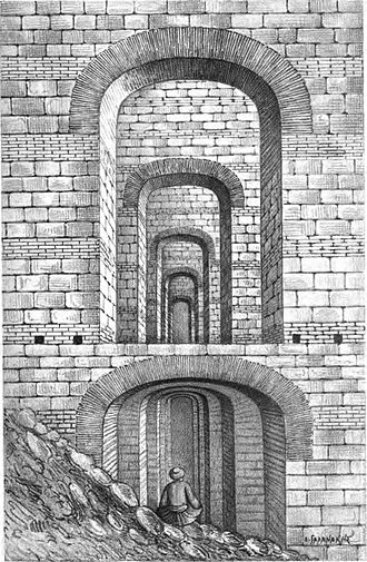 Prison of Anemas - Interior view of the vaulted chambers of the Prison of Anemas, from a 19th-century illustration.