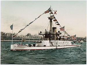 USS Amphitrite (BM-2) - Color postcard from 1897