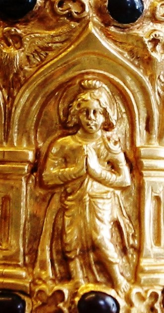Bodhisattva - Probable early image of a Bodhisattva (Bimaran casket, 50 CE).