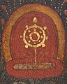 Dharmacakra detail, from 14th-century painted art on Buddhist crown of Tibet, - MET DP12791-001 (cropped).jpg