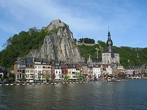 Notre Dame de Dinant - The Church, with the city and citadel, as seen from the Meuse