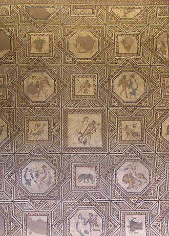 Romano-Germanic Museum - Section of the Dionysus mosaic (220 through 230) in the Römisch-Germanisches Museum Cologne