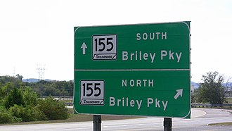 Tennessee State Route 155 - A sign off of Exit 26 offering a choice between SR-155 northbound and SR-155 southbound. Similar signs are common on roads that junction with SR-155.