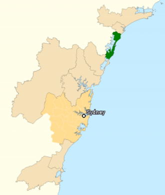 Division of Shortland - Division of Shortland in New South Wales, as of the 2016 federal election.