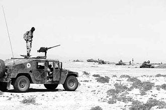 Djiboutian–Eritrean border conflict - Djiboutian troops with light armoured cars near the border