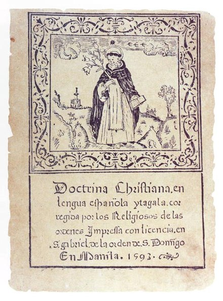 "Calungsod is often portrayed clutching a Catechism book, notably the ""Doctrina Christiana"". Only known surviving copy by Fray Juan de Plasencia. Library of Congress, Washington D.C. Circa 1590's. Doctrina-cristiana.jpg"