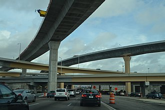 Florida State Road 826 - The Dolphin-Palmetto Interchange in 2014 with the main flyover ramps just being completed.