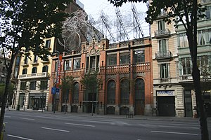 Fundació Antoni Tàpies - Montaner i Simon building, with the work Núvol i cadira by Tàpies on the top