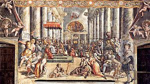 Workshop of Raphael, The Donation of Constantine. Stanze di Raffaello, Vatican City.