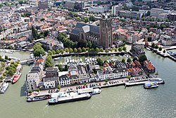 Aerial photo o the ceety centre o Dordrecht