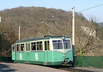 Drachenfels Railway - Electric railcar at the summit station
