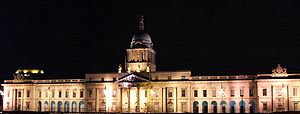 Economy of Dublin - The south facade of the Custom House by night