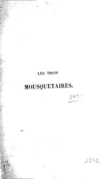 File:Dumas - Les Trois Mousquetaires - 1849.djvu