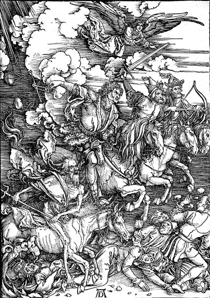 Albrecht Dürer, The Revelation of St John: The Four Riders of the Apocalypse, 1497-1498, Woodcut, 39 x 28 cm, Staatliche Kunsthalle, Karlsruhe. Image is in the public domain and was sourced from the Wikimedia commons.