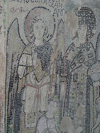 Amphitheatre of Durrës - A paleochristian mosaic in the chapel.