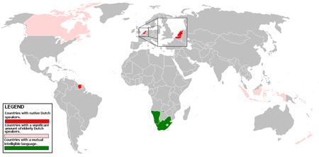 Carte sur le néerlandais dans le monde