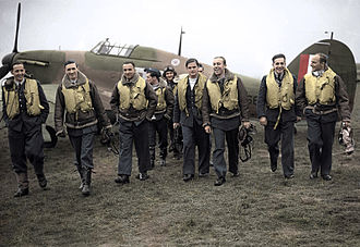 No. 303 Squadron RAF - 303 squadron pilots. L-R: F/O Ferić, F/Lt Lt Kent, F/O Grzeszczak, P/O Radomski, P/O Zumbach, P/O Łokuciewski, F/O Henneberg, Sgt Rogowski, Sgt Szaposznikow (in 1940).