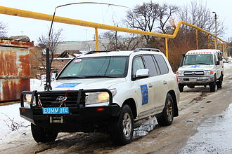 European Union Monitoring Mission - The EUMM patrols the South Ossetian administration boundary line in armored SUVs in February 2012.