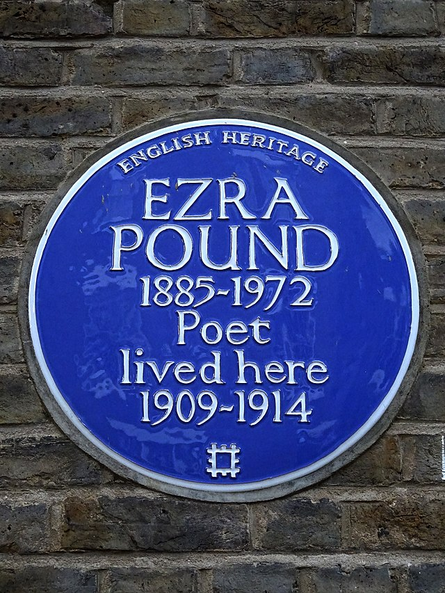 Ezra Pound blue plaque - Ezra Pound 1885-1972 poet lived here 1909-1914
