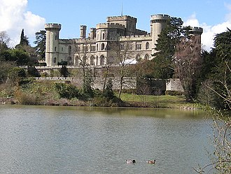 Red or Black? - Eastnor Castle, Herefordshire, where Rory McIlroy and Lee Westwood attempted to hit a gong in the middle of a lake