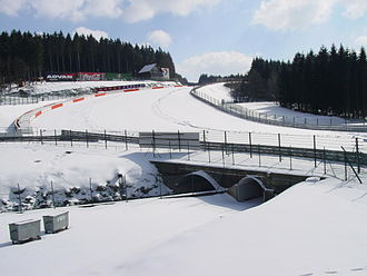 Eau Rouge - The bridge where the Circuit de Spa-Francorchamps crosses the Eau Rouge at the corner bearing its name