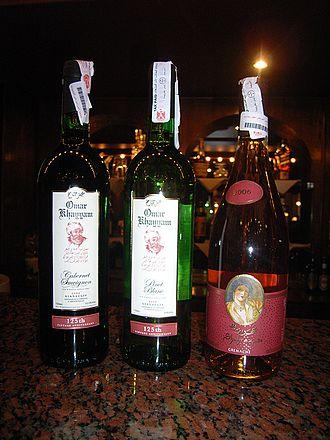 Egyptian wine - Omar Khayyam and Shahrazade bottles from Gianaclis Vineyards.