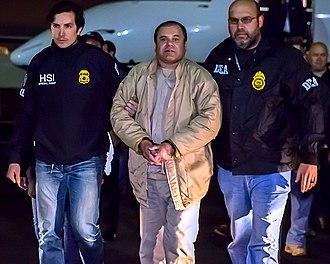 """Joaquín """"El Chapo"""" Guzmán - El Chapo in U.S. custody, 19 January 2017."""