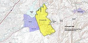 El Dorado Hills, California - Image: El Dorado Hills CDP and region