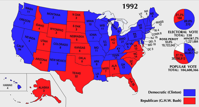 United States Presidential Election Wikipedia - 1992 election us map