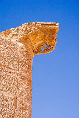 Column capital in shape of elephant's head in Petra