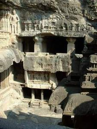 Rashtrakuta dynasty - Three-storied monolithic Jain cave temple at Ellora