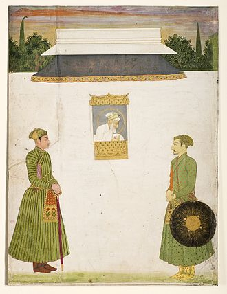 Jharokha Darshan - Emperor Aurangzeb at the jharokha window with two noblemen in the foreground, in 1710