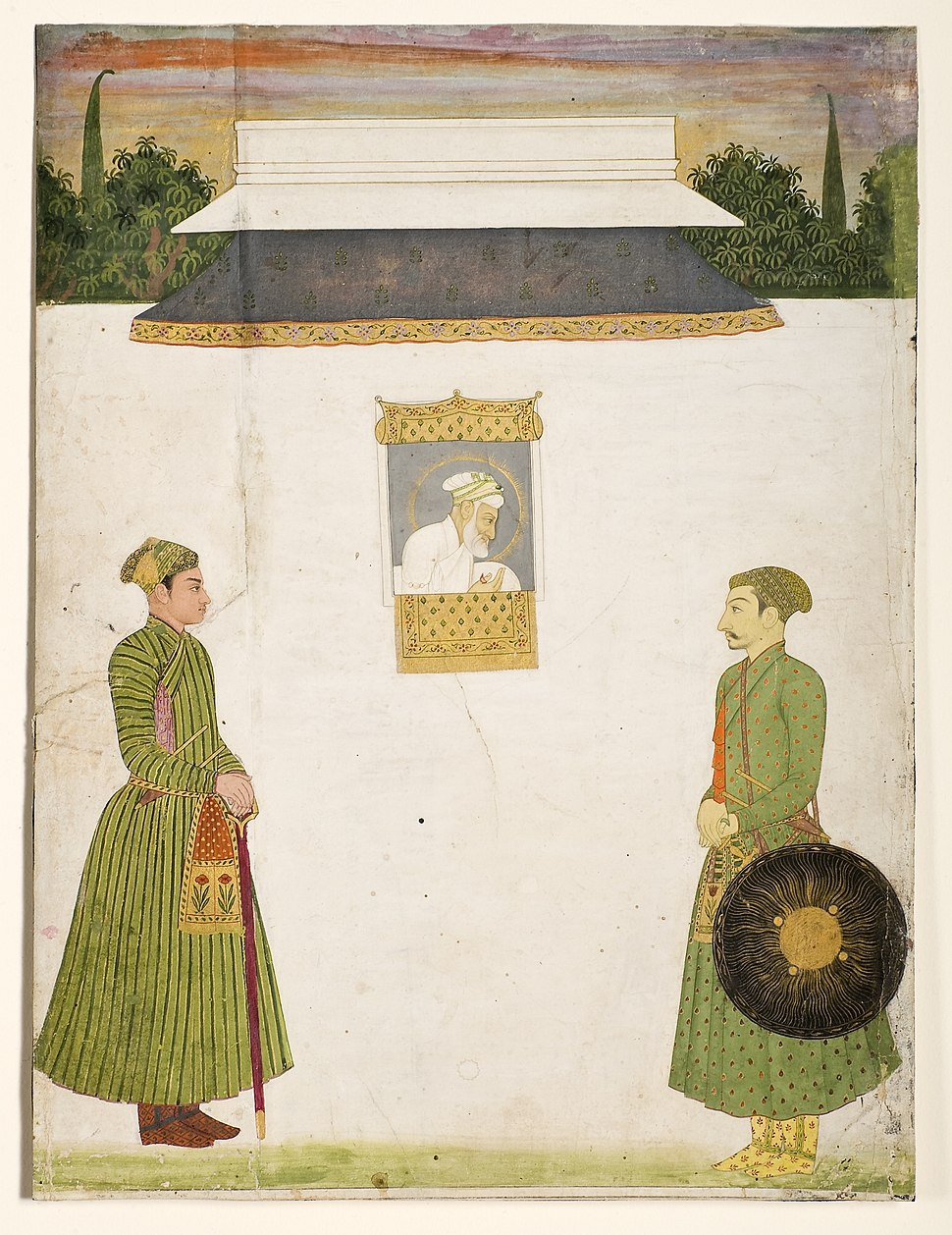 Emperor Aurangzeb at a jharokha window, two noblemen in the foregroundIn 1710 San Diego Museum of Art