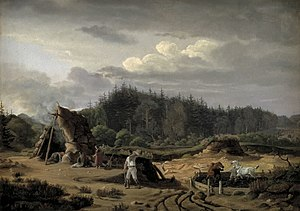 Høsterkøb - A Bog with Peat Cutters. Høsterkøb, painting by Fritz Petzholdt from the 1820s