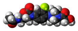 Space-filling model of the eperezolid molecule