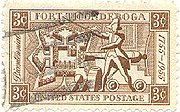 U.S. 1955 postage stamp depicting Ethan Allen and Fort Ticonderoga.