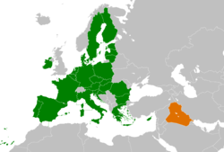 Map indicating locations of European Union and Iraq