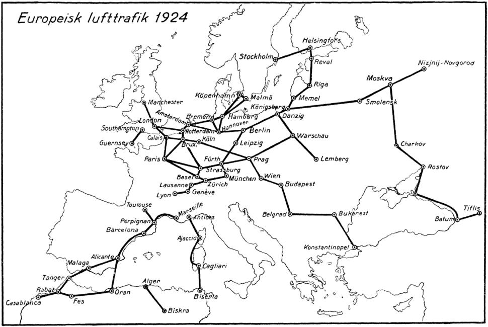 Europeisk lufttrafik 1924, Nordisk familjebok