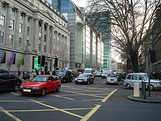 Euston Road thoroughfare in central London, England