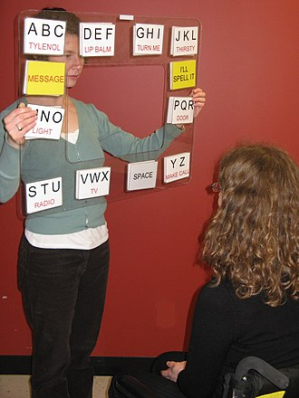 "Augmentative and alternative communication - A subject uses eye-gaze to indicate choices on a transparent letter-based communication board. This is a form of ""Direct Selection""."