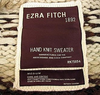 "Abercrombie & Fitch - High-end ""Ezra Fitch"" clothing marker."