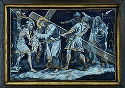FIFTH STATION Jesus is helped by Simon the Cyrene to carry his Cross.jpg