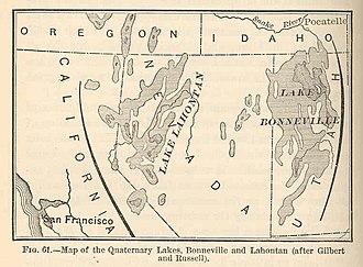 Lake Bonneville - Map of the quaternary lakes, Bonneville and Lahontan