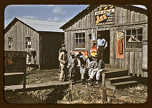 Juke joint - Exterior of a juke joint in Belle Glade, Florida, photographed by Marion Post Wolcott in 1944