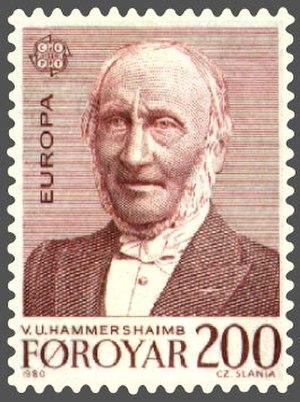 Venceslaus Ulricus Hammershaimb - Faroe Islands stamp honoring Venceslaus Ulricus Hammershaimb