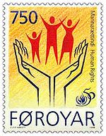 This 1998 stamp of the Faroe Islands marks the 50th anniversary of the Universal Declaration of Human Rights.