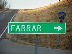 Farrar, Missouri, road sign